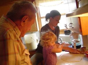 Grandpa supervises